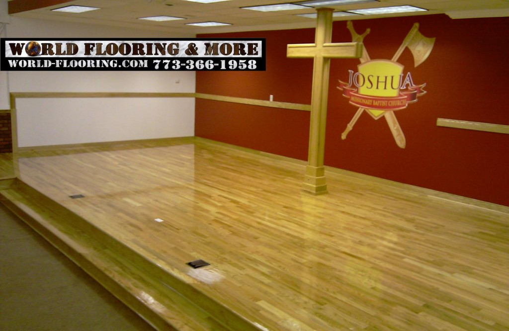 Platform raised rised floor floors hardwood church parish World Flooring & More 773-366-1958 Chicago Suburbs