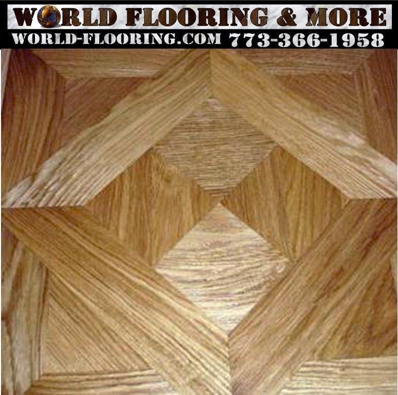 Floor inlay designed, constructed and installed on the job by World Flooring and More 773-366-1958 Free Estimates in Chicago and Suburbs