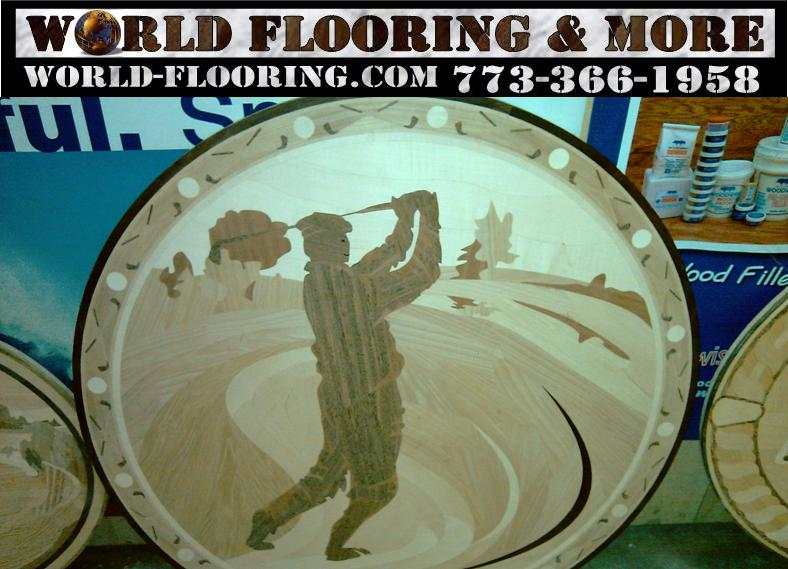 Available hardwood floor custom design inlay from World Flooring and More: Luxury Home Remodeling You Can Afford