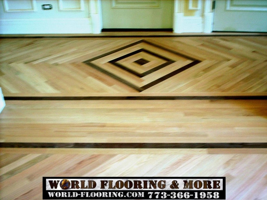 On the job assembled and installed floor wood inlay by World Flooring and More http://world-flooring.com/