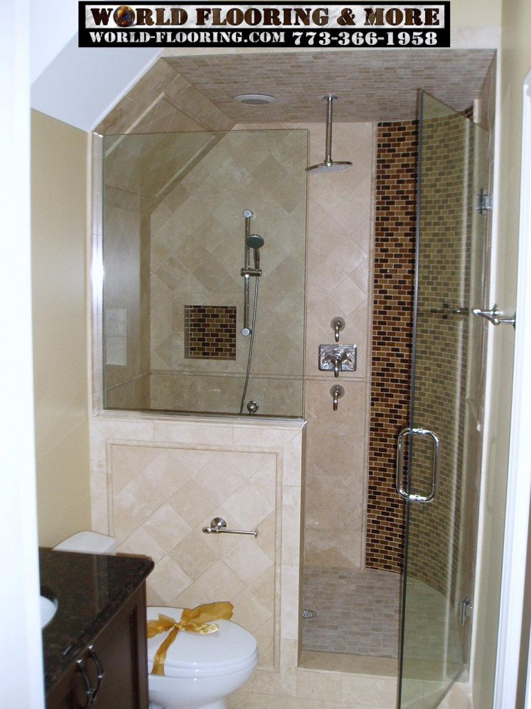 mosaic tile custom cultured marble Shower Bathroom Remodeling World Flooring & More 773-366-1958 Chicago Suburbs