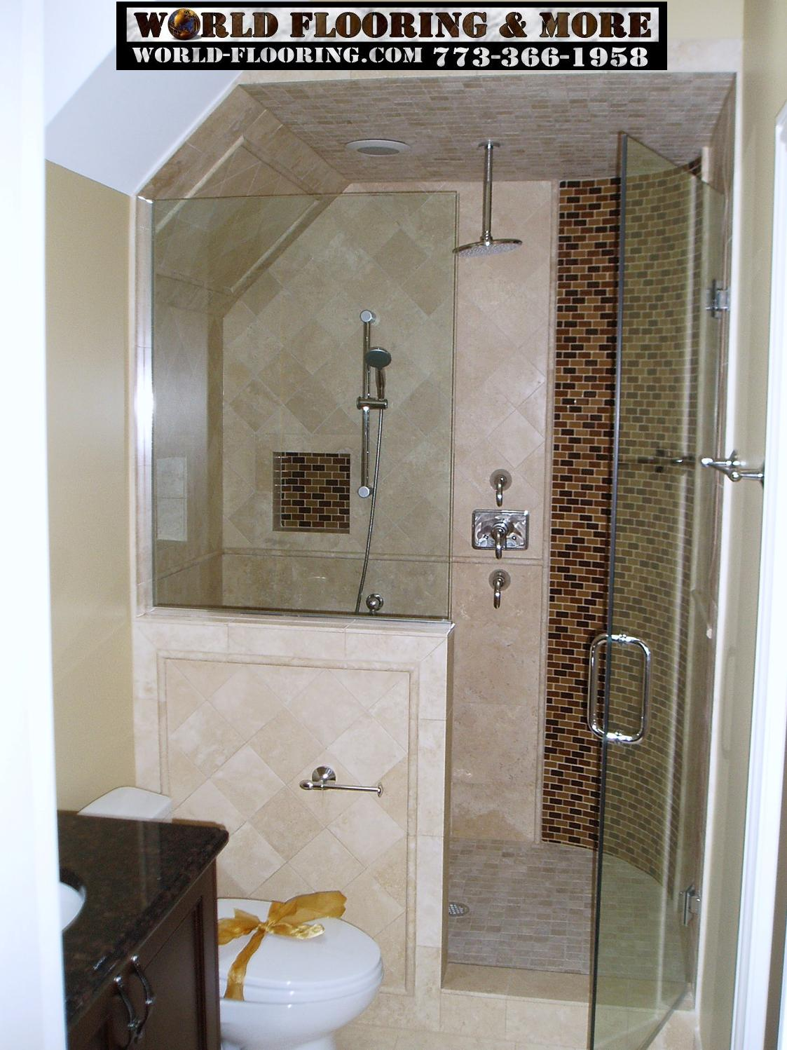 Custom Cultured Marble Shower mosaic tile power jet showers by ...