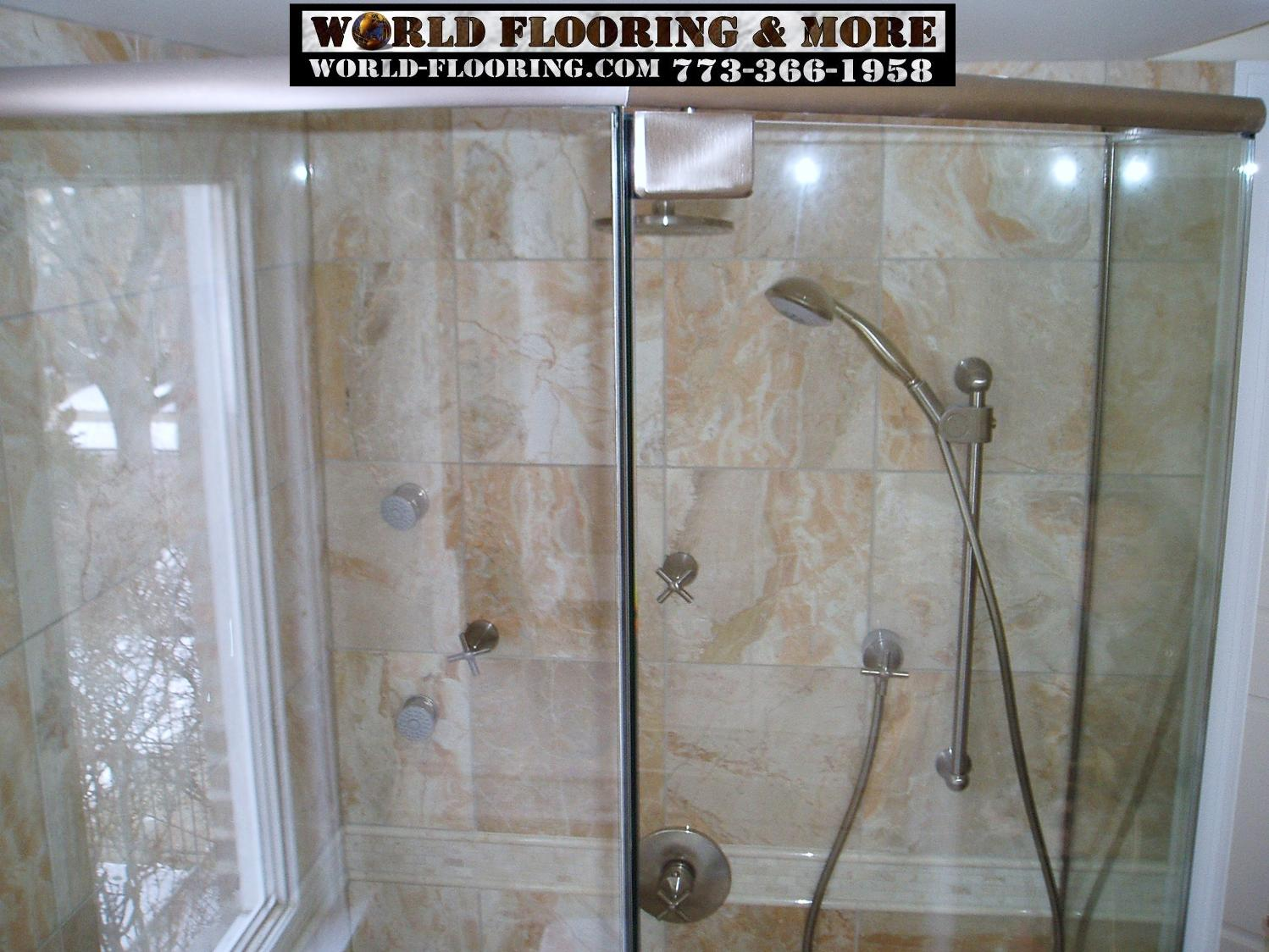 Power Body Jet Shower System With Marble And Glass Door Installed By World  Flooring U0026 More