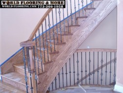 Before after stair stairs staircase construct repair 773-366-1958 World Flooring & More