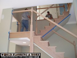 Before after stair stairs staircase construct repair 773-366-1958 World Flooring & More (3)