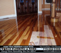 Staining sanding and refinishing hardwood floor World Flooring & More 773-366-1958 c