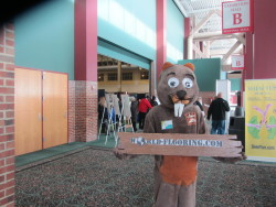 Beaver costume mascot at Navy Pier Chicago