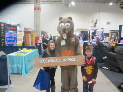 beaver mascot with children