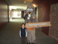 mascot with a child