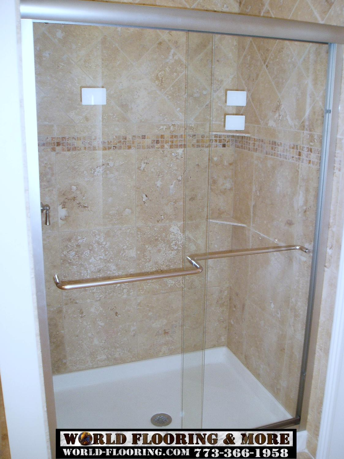 Custom Cultured Marble Shower Mosaic Tile Power Jet Showers